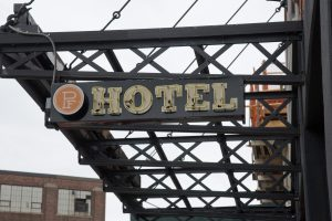 Paper Factory Hotel sign