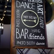 Chalkboard sign for NYC maritime party