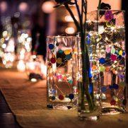 confetti, garland, and fairy lights at bat mitzvah