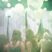 Mitzvah confetti balloons ceiling installation
