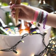 Party lights on beverage cups and vintage soda