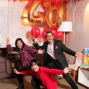 Gold mylar balloons for 40th birthday party in Tribeca