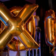 XO gold mylar ballons at bat mitzvah