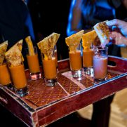 Mini grilled cheese with tomatoe soup shooters by chef rossi at Bat Mitzvah