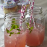 Pink lemonade in mason jars for party