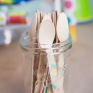 Wooden spoons tabletop party decor